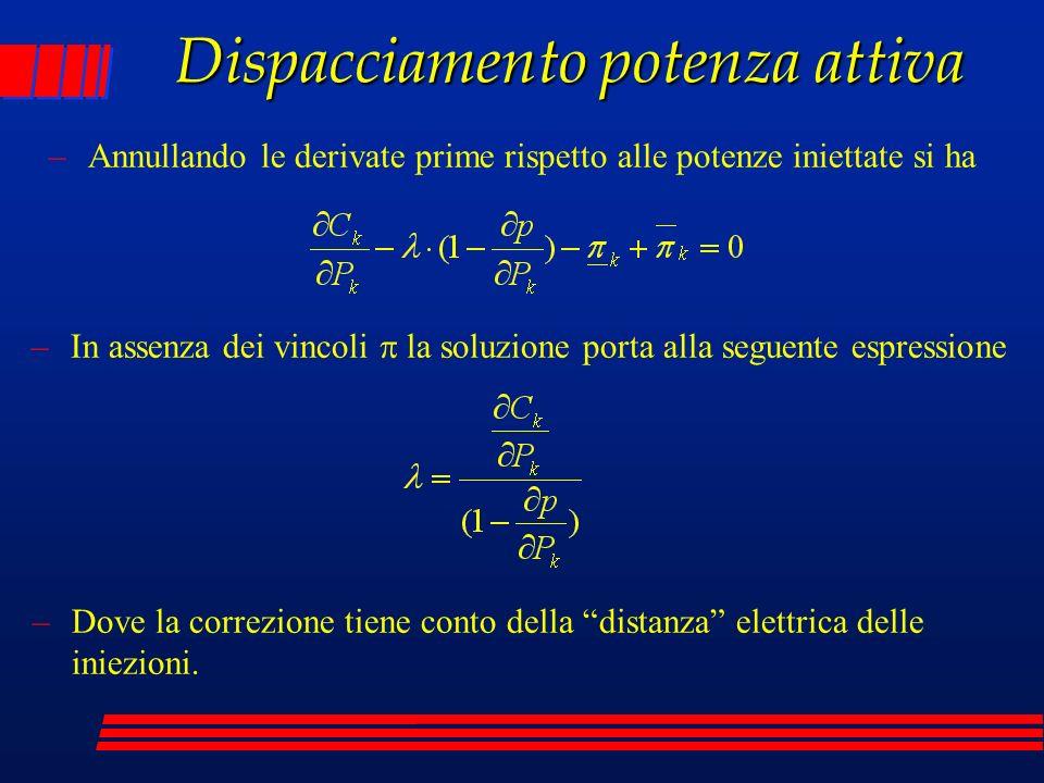 Dispacciamento potenza attiva –Annullando le derivate prime rispetto alle potenze iniettate si ha –In assenza dei vincoli la soluzione porta alla segu