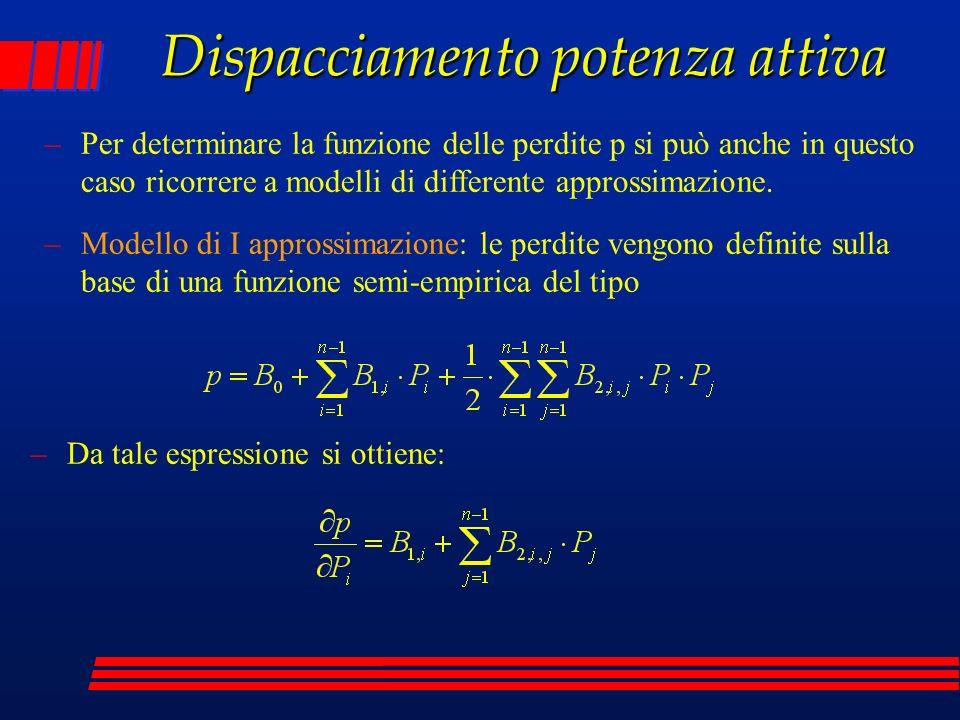 Dispacciamento potenza attiva –Modello di II approssimazione: le perdite vengono definite sulla base alla seguente formulazione (n = nodo di saldo) –Da cui derivando si ottiene: –Dalla esplicitazione delle variabili di stato in funzione di quelle di controllo si ottiene: