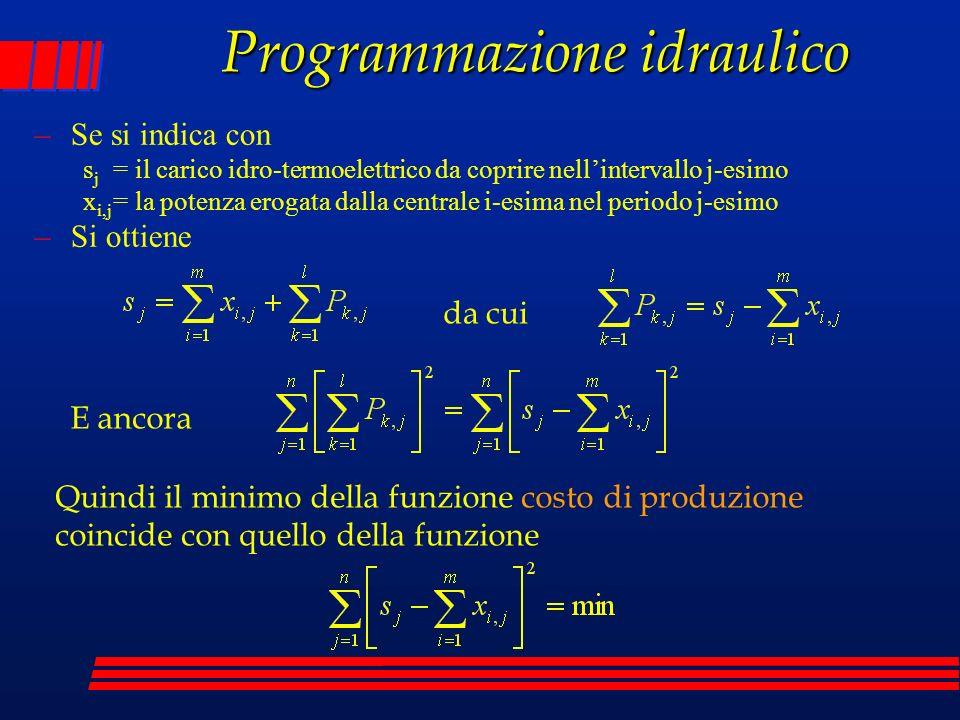 Programmazione idraulico –Se si indica con s j = il carico idro-termoelettrico da coprire nellintervallo j-esimo x i,j = la potenza erogata dalla cent