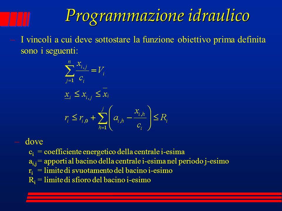 Programmazione idraulico –I vincoli a cui deve sottostare la funzione obiettivo prima definita sono i seguenti: –dove c i = coefficiente energetico de