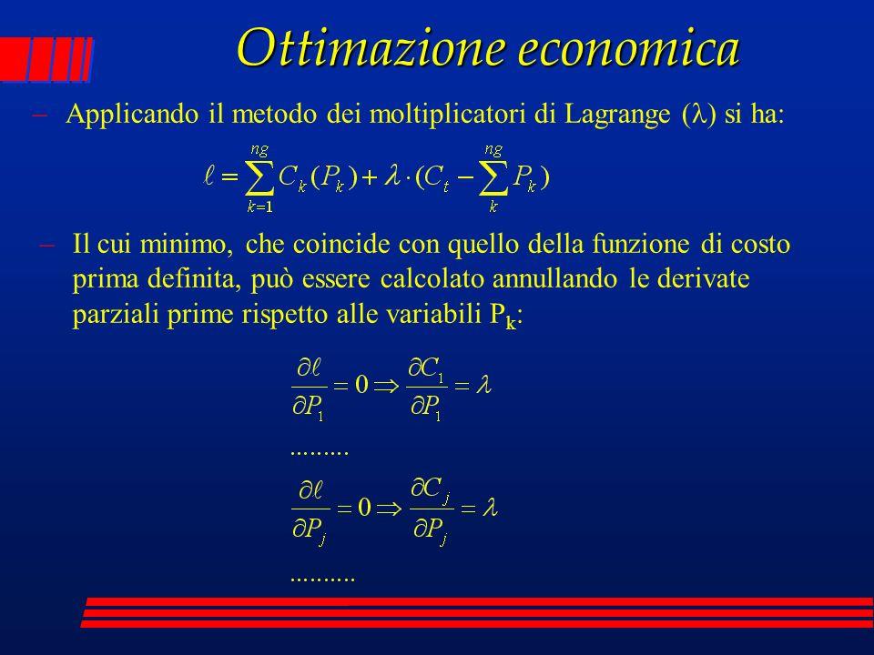 Ottimazione economica –Applicando il metodo dei moltiplicatori di Lagrange ( ) si ha: –Il cui minimo, che coincide con quello della funzione di costo