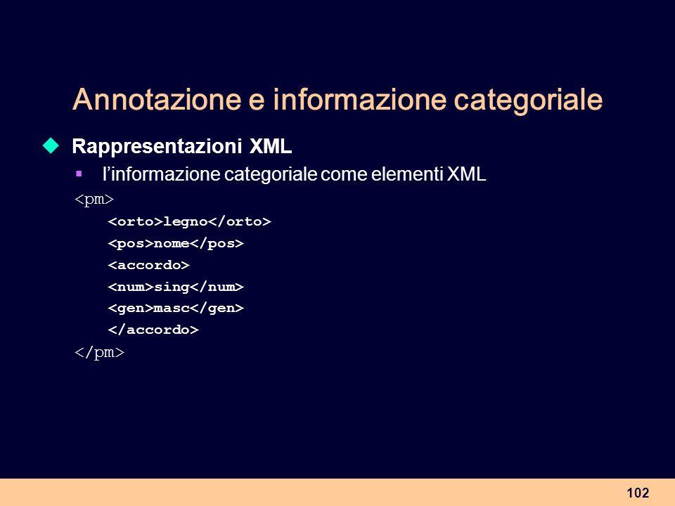 102 Annotazione e informazione categoriale Rappresentazioni XML linformazione categoriale come elementi XML legno nome sing masc