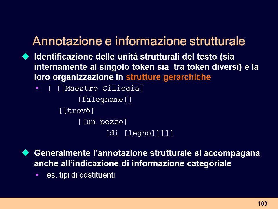 103 Annotazione e informazione strutturale Identificazione delle unità strutturali del testo (sia internamente al singolo token sia tra token diversi)
