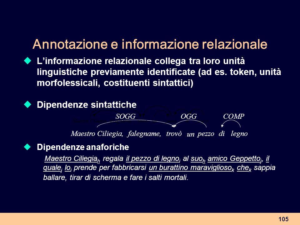 105 Annotazione e informazione relazionale Linformazione relazionale collega tra loro unità linguistiche previamente identificate (ad es. token, unità