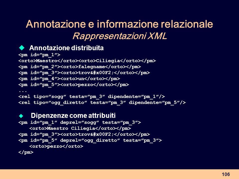 106 Annotazione e informazione relazionale Rappresentazioni XML Annotazione distribuita Maestro Ciliegia falegname trovò un pezzo... Dipenzenze