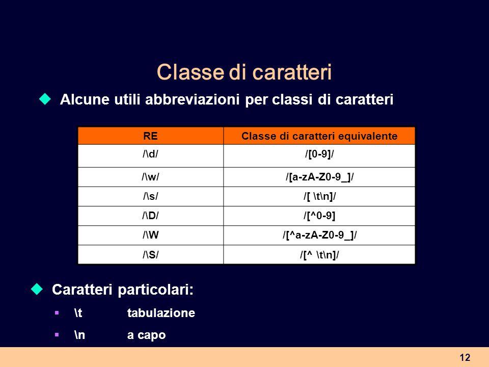 12 Classe di caratteri Alcune utili abbreviazioni per classi di caratteri REClasse di caratteri equivalente /\d//[0-9]/ /\w//[a-zA-Z0-9_]/ /\s//[ \t\n