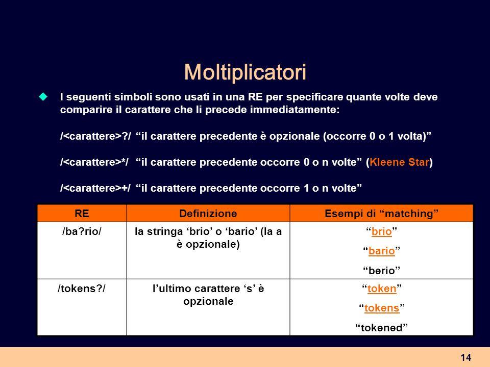 14 Moltiplicatori I seguenti simboli sono usati in una RE per specificare quante volte deve comparire il carattere che li precede immediatamente: / ?/