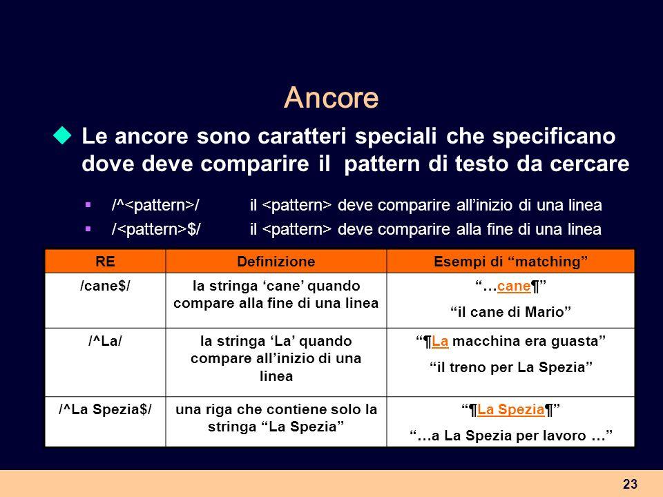 23 Ancore Le ancore sono caratteri speciali che specificano dove deve comparire il pattern di testo da cercare /^ /il deve comparire allinizio di una