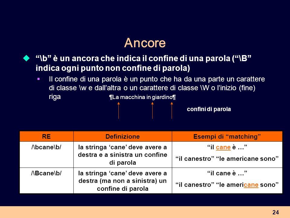 24 Ancore \b è un ancora che indica il confine di una parola (\B indica ogni punto non confine di parola) Il confine di una parola è un punto che ha d
