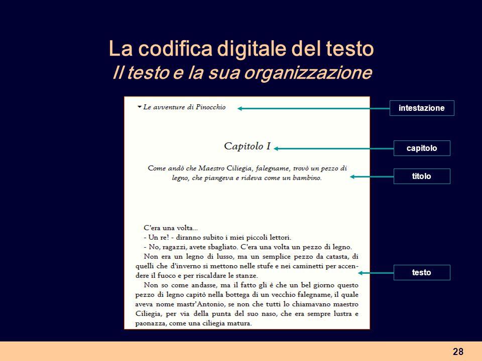 28 La codifica digitale del testo Il testo e la sua organizzazione titolo capitolo testo intestazione