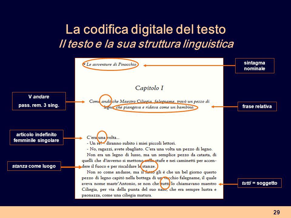 29 La codifica digitale del testo Il testo e la sua struttura linguistica frase relativa tutti = soggetto sintagma nominale articolo indefinito femmin