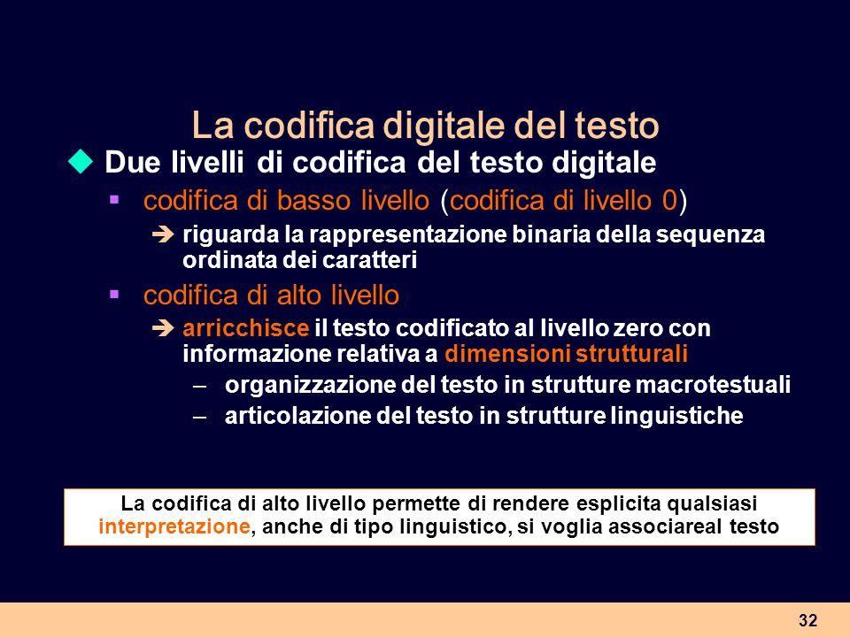 32 La codifica digitale del testo Due livelli di codifica del testo digitale codifica di basso livello (codifica di livello 0) riguarda la rappresenta
