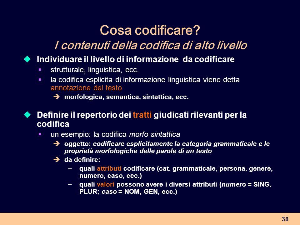 38 Cosa codificare? I contenuti della codifica di alto livello Individuare il livello di informazione da codificare strutturale, linguistica, ecc. la