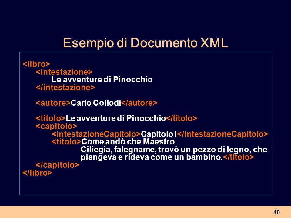 49 Esempio di Documento XML Le avventure di Pinocchio Carlo Collodi Le avventure di Pinocchio Capitolo I Come andò che Maestro Ciliegia, falegname, tr