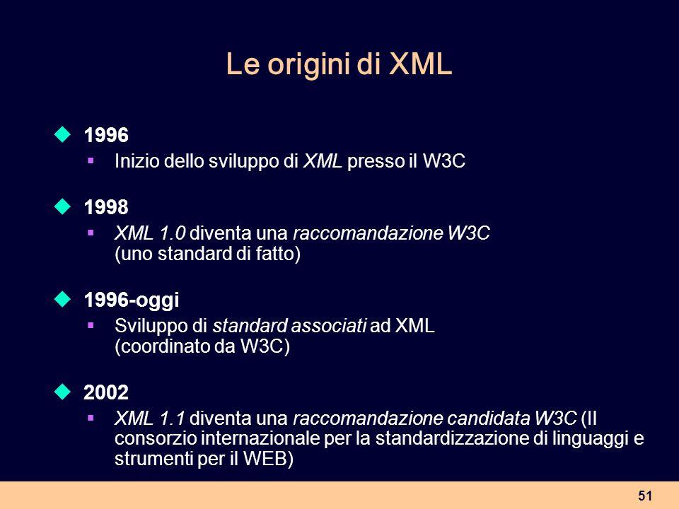 51 Le origini di XML 1996 Inizio dello sviluppo di XML presso il W3C 1998 XML 1.0 diventa una raccomandazione W3C (uno standard di fatto) 1996-oggi Sv