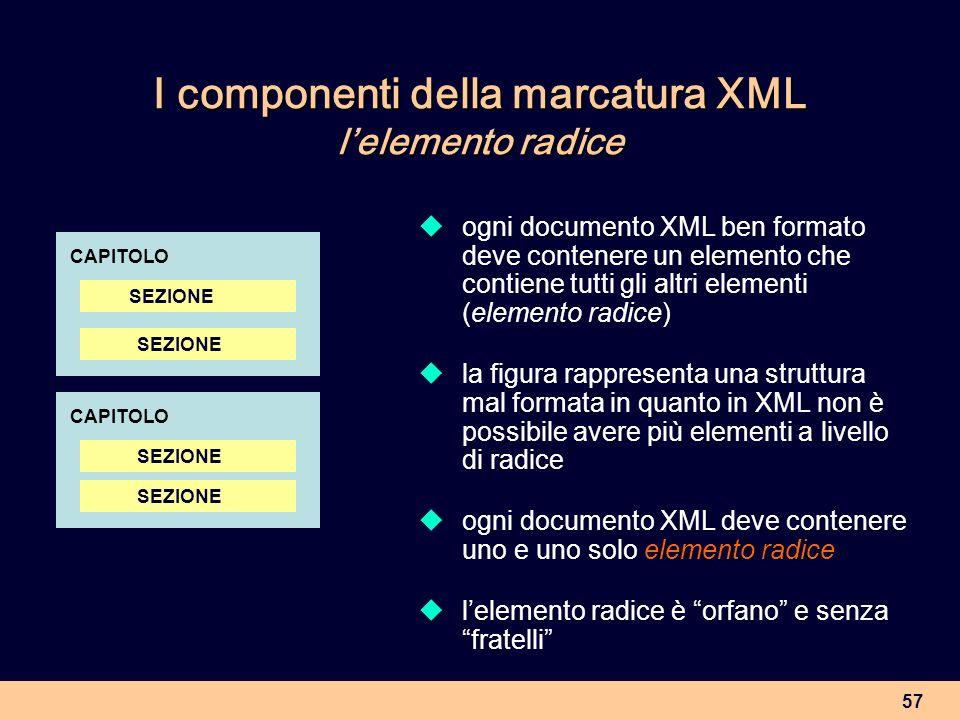 57 I componenti della marcatura XML lelemento radice ogni documento XML ben formato deve contenere un elemento che contiene tutti gli altri elementi (