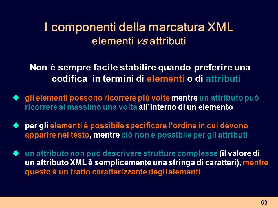 63 I componenti della marcatura XML elementi vs attributi Non è sempre facile stabilire quando preferire una codifica in termini di elementi o di attr