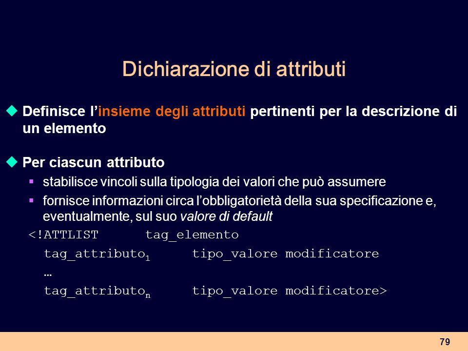 79 Dichiarazione di attributi Definisce linsieme degli attributi pertinenti per la descrizione di un elemento Per ciascun attributo stabilisce vincoli