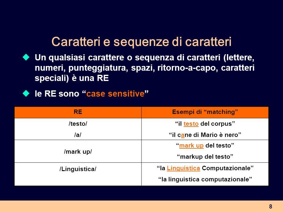 9 Classe di caratteri Un insieme di caratteri tra parentesi quadre è una RE che definisce una classe di caratteri disgiunti REDefinizioneEsempi di matching /[st]/il carattere s o il carattere tla sintassi il tempo /[1234567890]/qualsiasi cifra2 parole /[Ll]inguistica/linguistica o Linguisticala Linguistica Computazionale la linguistica computazionale ATTENZIONE!!.