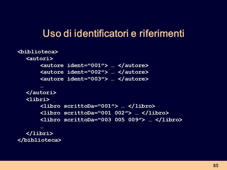 85 Uso di identificatori e riferimenti … …