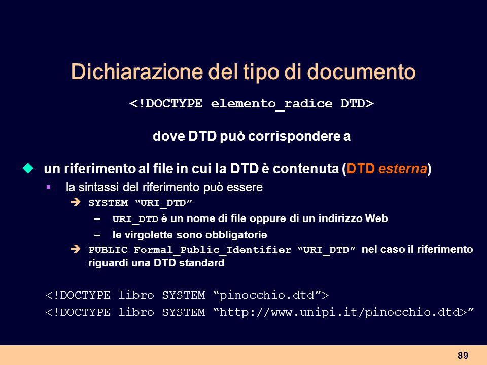 89 Dichiarazione del tipo di documento dove DTD può corrispondere a un riferimento al file in cui la DTD è contenuta (DTD esterna) la sintassi del rif