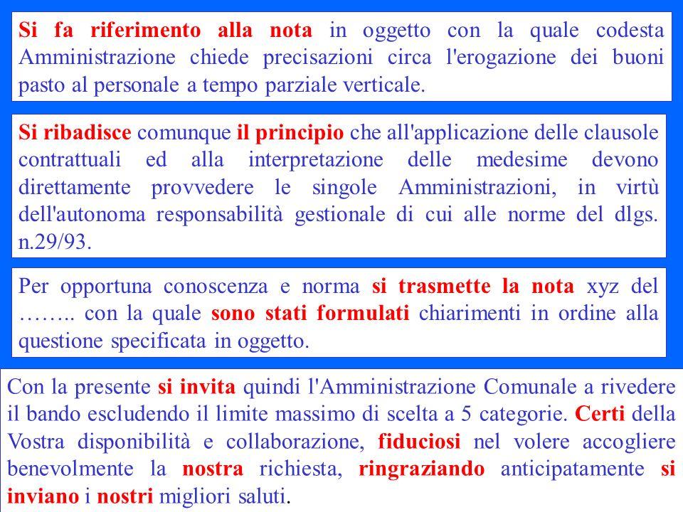 Si fa riferimento alla nota in oggetto con la quale codesta Amministrazione chiede precisazioni circa l erogazione dei buoni pasto al personale a tempo parziale verticale.