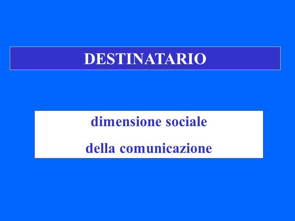 DESTINATARIO dimensione sociale della comunicazione