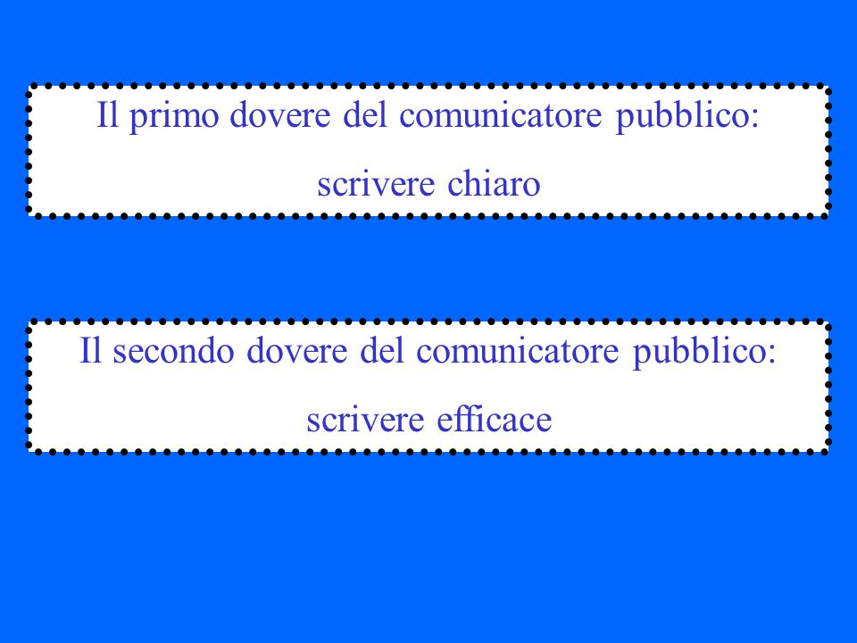 Il primo dovere del comunicatore pubblico: scrivere chiaro Il secondo dovere del comunicatore pubblico: scrivere efficace