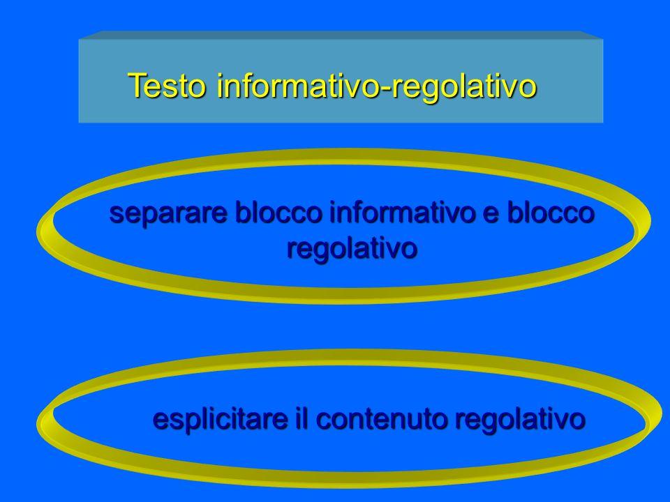 separare blocco informativo e blocco regolativo esplicitare il contenuto regolativo Testo informativo-regolativo