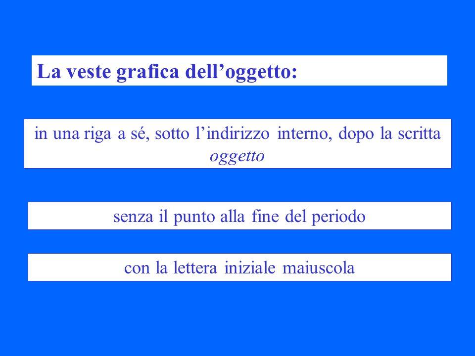 La veste grafica delloggetto: in una riga a sé, sotto lindirizzo interno, dopo la scritta oggetto senza il punto alla fine del periodo con la lettera iniziale maiuscola
