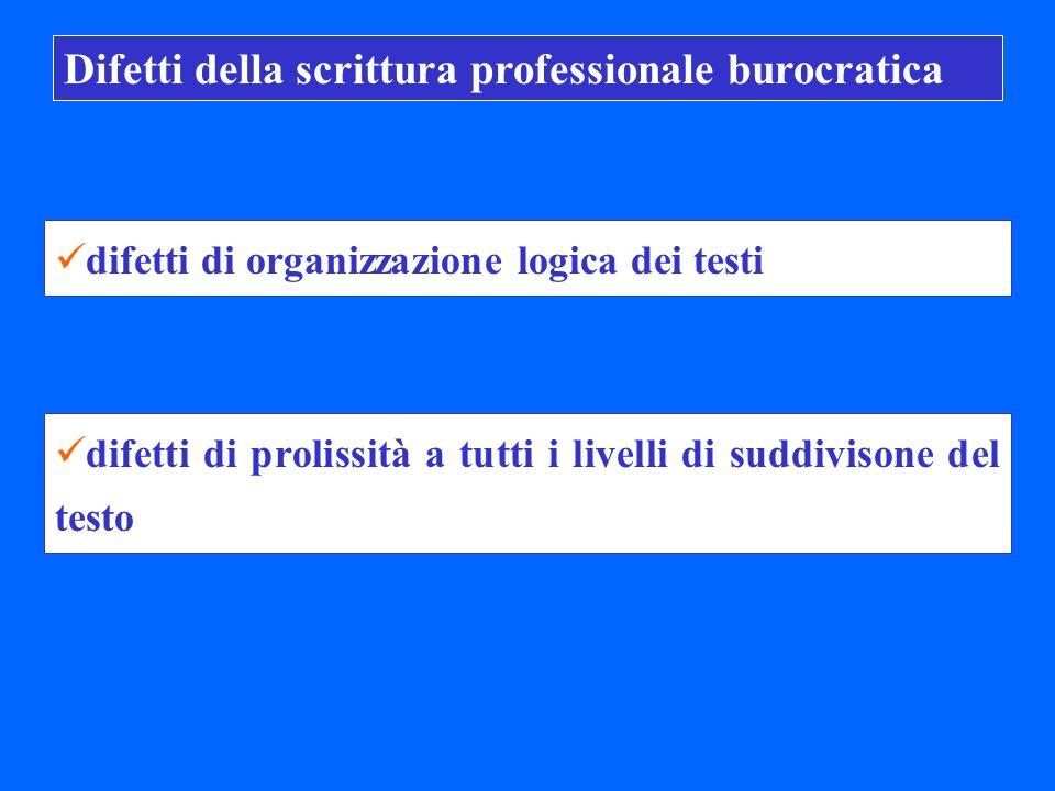 Difetti della scrittura professionale burocratica difetti di organizzazione logica dei testi difetti di prolissità a tutti i livelli di suddivisone del testo