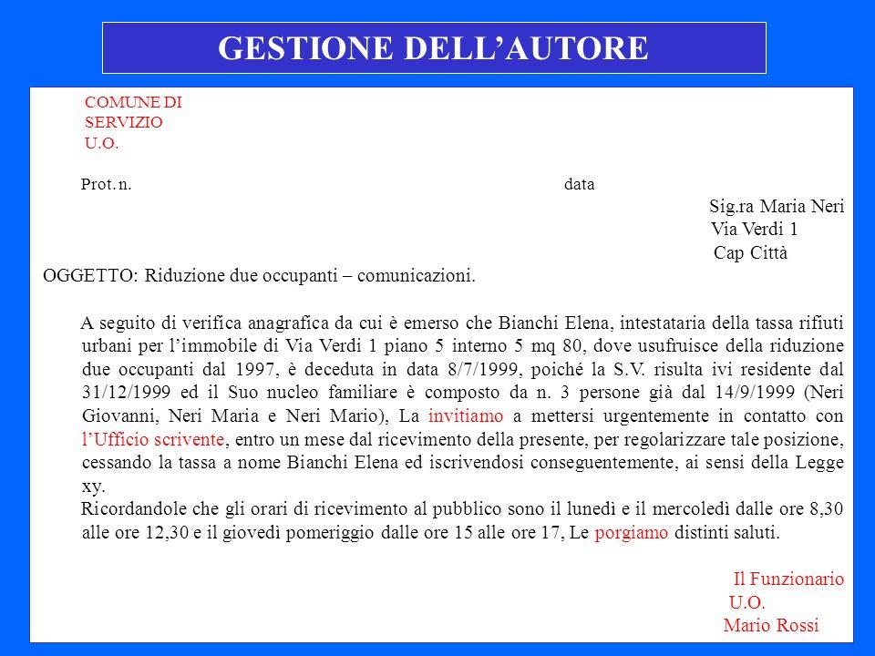 COMUNE DI SERVIZIO U.O.Prot. n.