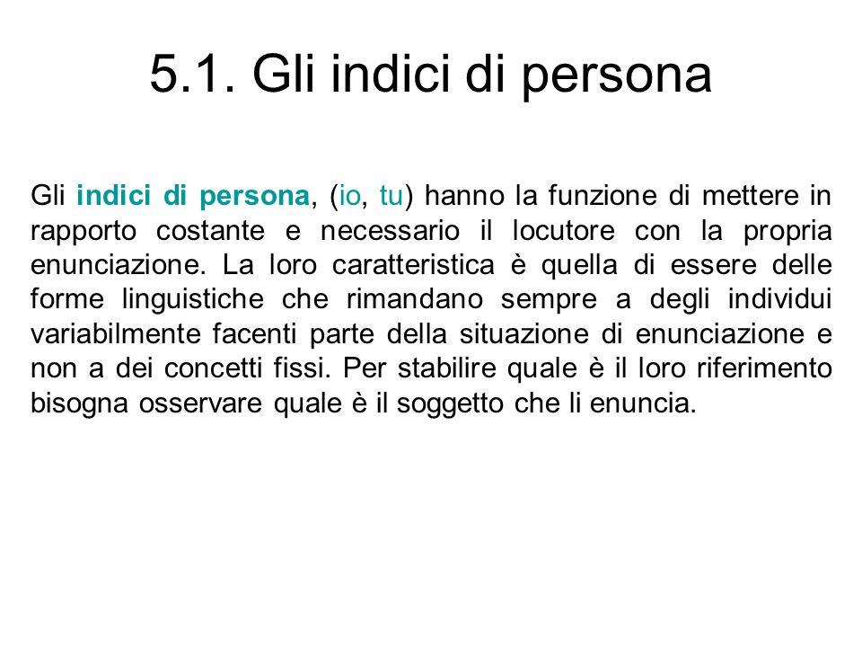5.1. Gli indici di persona Gli indici di persona, (io, tu) hanno la funzione di mettere in rapporto costante e necessario il locutore con la propria e