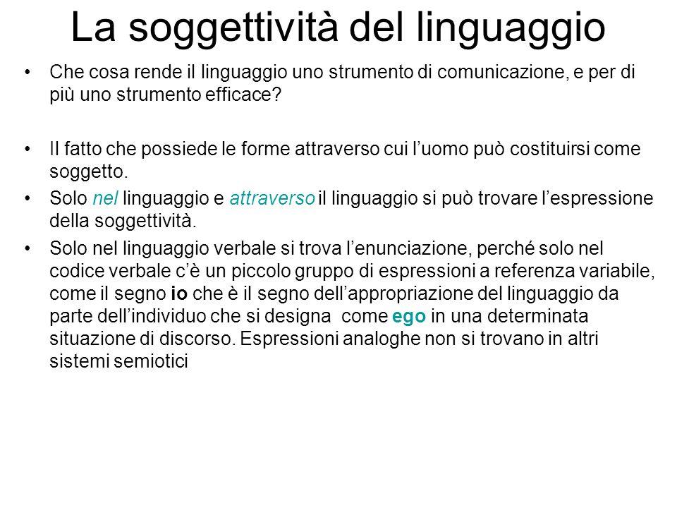 La soggettività del linguaggio Che cosa rende il linguaggio uno strumento di comunicazione, e per di più uno strumento efficace? Il fatto che possiede