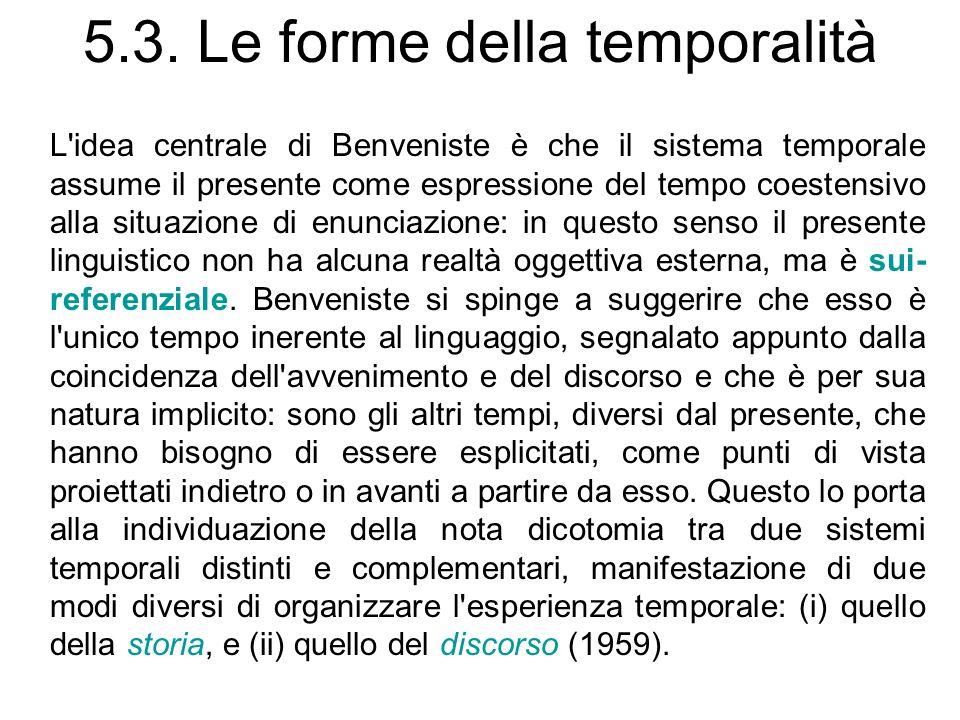 5.3. Le forme della temporalità L'idea centrale di Benveniste è che il sistema temporale assume il presente come espressione del tempo coestensivo all