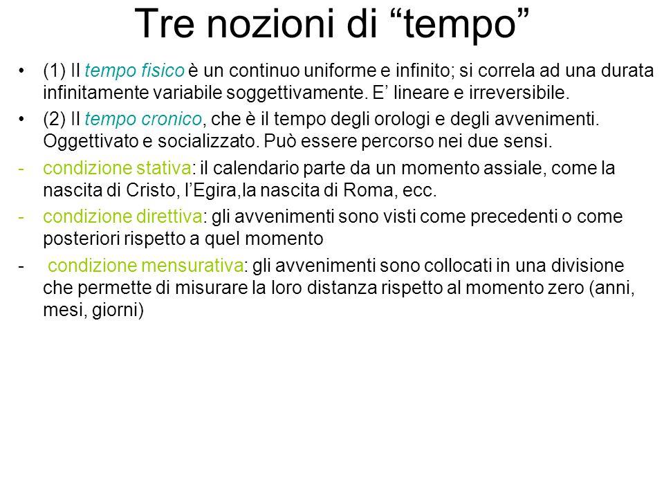 Tre nozioni di tempo (1) Il tempo fisico è un continuo uniforme e infinito; si correla ad una durata infinitamente variabile soggettivamente. E linear