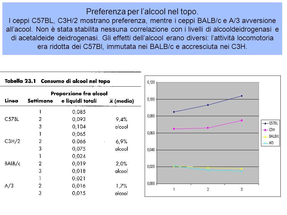 Preferenza per lalcool nel topo. I ceppi C57BL, C3H/2 mostrano preferenza, mentre i ceppi BALB/c e A/3 avversione allacool. Non è stata stabilita ness