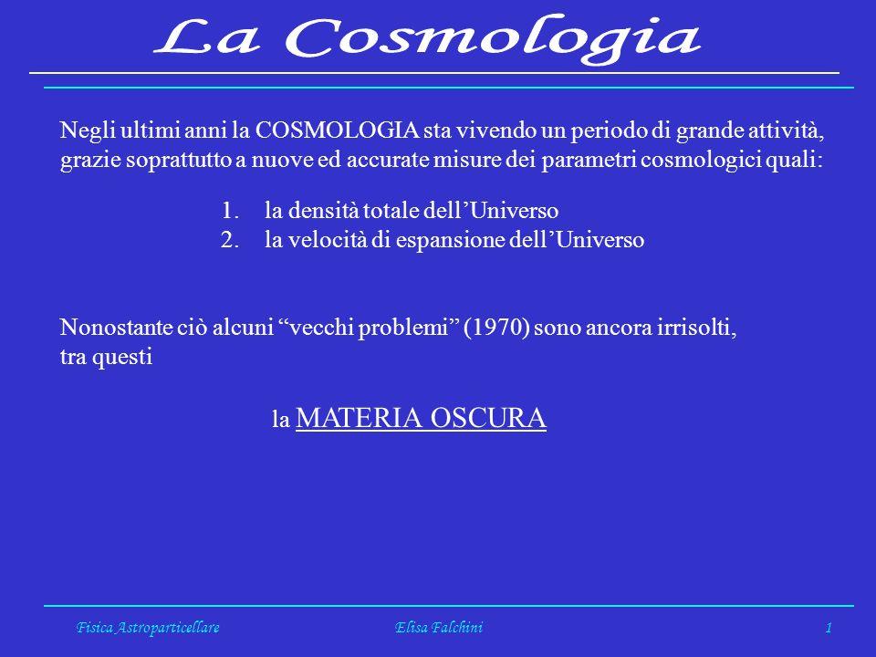Fisica AstroparticellareElisa Falchini1 Negli ultimi anni la COSMOLOGIA sta vivendo un periodo di grande attività, grazie soprattutto a nuove ed accurate misure dei parametri cosmologici quali: 1.la densità totale dellUniverso 2.la velocità di espansione dellUniverso Nonostante ciò alcuni vecchi problemi (1970) sono ancora irrisolti, tra questi la MATERIA OSCURA