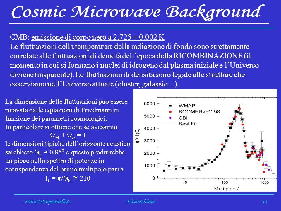 Fisica AstroparticellareElisa Falchini12 CMB: emissione di corpo nero a 2.725 ± 0.002 K Le fluttuazioni della temperatura della radiazione di fondo sono strettamente correlate alle fluttuazioni di densità dellepoca della RICOMBINAZIONE (il momento in cui si formano i nuclei di idrogeno dal plasma iniziale e lUniverso diviene trasparente).