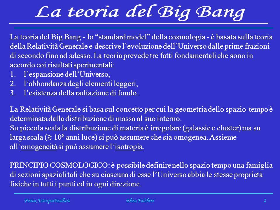 Fisica AstroparticellareElisa Falchini2 La teoria del Big Bang - lo standard model della cosmologia - è basata sulla teoria della Relatività Generale e descrive levoluzione dellUniverso dalle prime frazioni di secondo fino ad adesso.