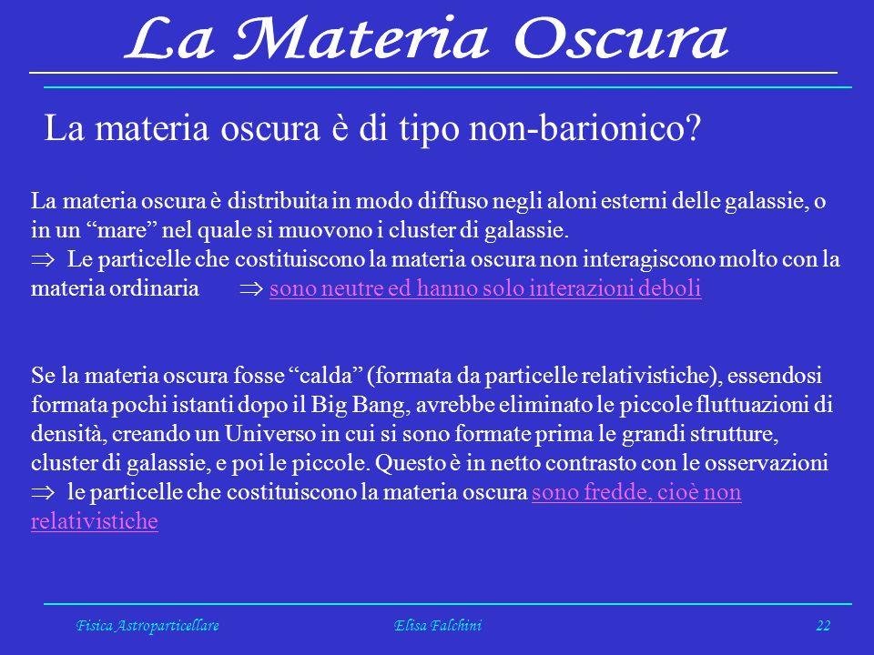 Fisica AstroparticellareElisa Falchini22 La materia oscura è di tipo non-barionico.