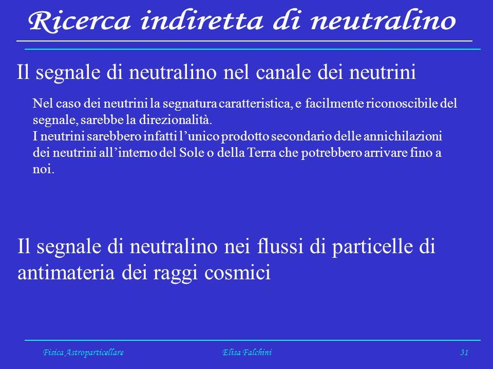 Fisica AstroparticellareElisa Falchini31 Il segnale di neutralino nel canale dei neutrini Nel caso dei neutrini la segnatura caratteristica, e facilmente riconoscibile del segnale, sarebbe la direzionalità.