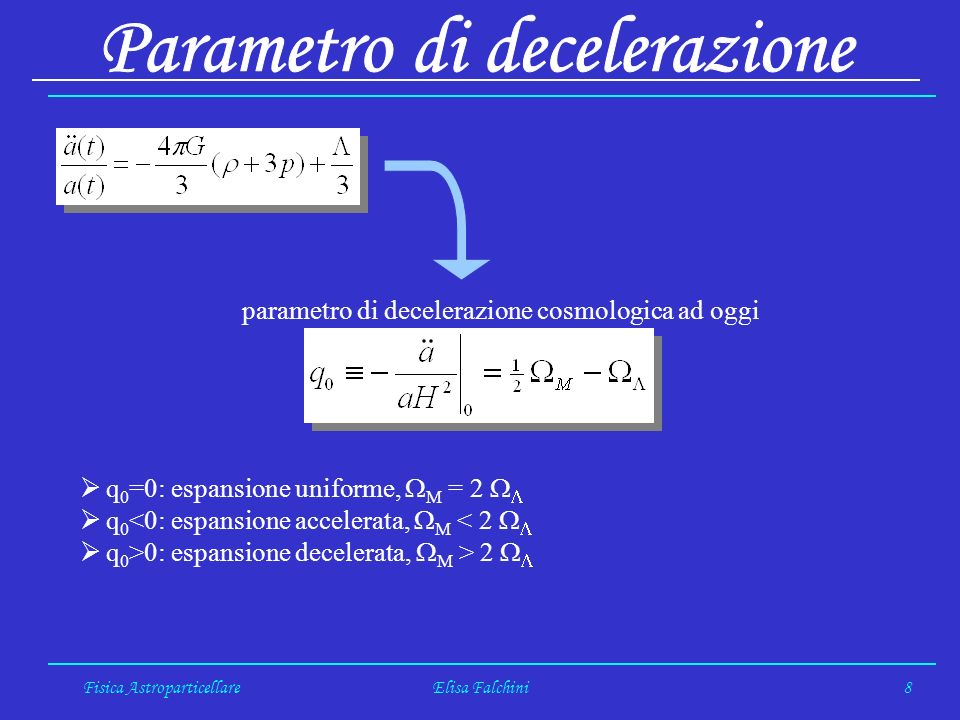 Fisica AstroparticellareElisa Falchini8 parametro di decelerazione cosmologica ad oggi q 0 =0: espansione uniforme, M = 2 q 0 <0: espansione accelerata, M < 2 q 0 >0: espansione decelerata, M > 2