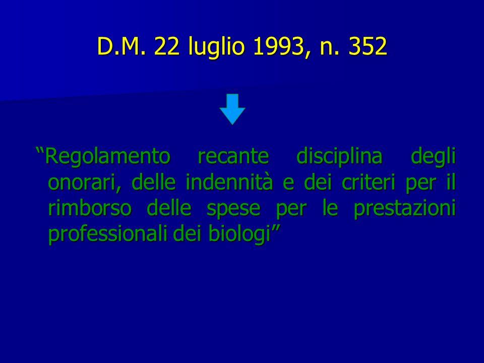 D.M. 22 luglio 1993, n. 352 Regolamento recante disciplina degli onorari, delle indennità e dei criteri per il rimborso delle spese per le prestazioni