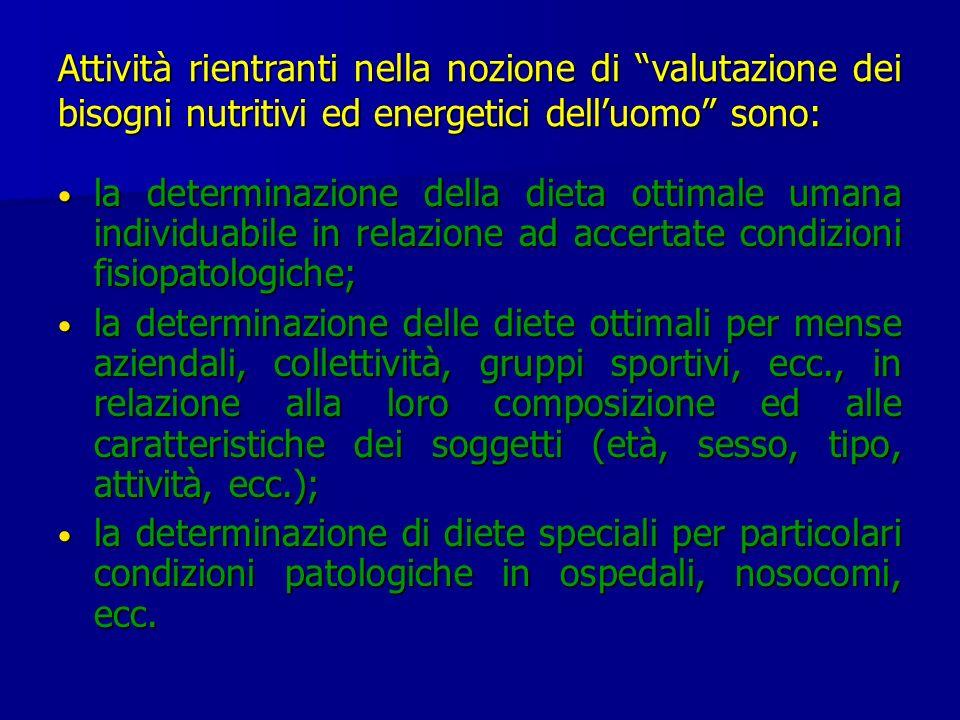 Attività rientranti nella nozione di valutazione dei bisogni nutritivi ed energetici delluomo sono: la determinazione della dieta ottimale umana indiv