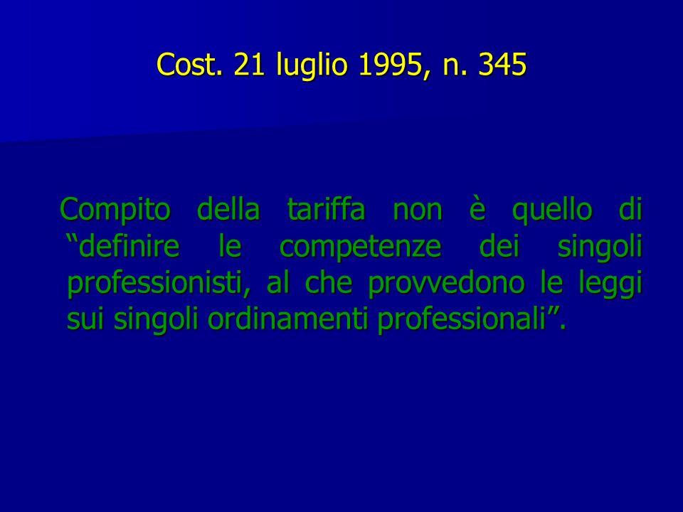 Cost. 21 luglio 1995, n. 345 Compito della tariffa non è quello di definire le competenze dei singoli professionisti, al che provvedono le leggi sui s