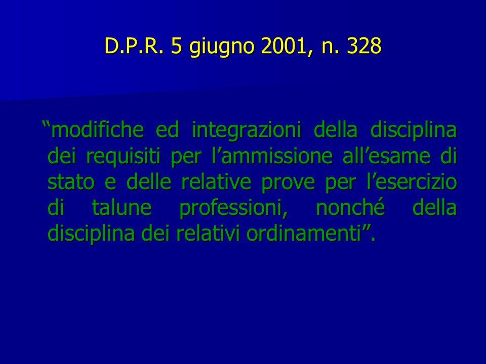 D.P.R. 5 giugno 2001, n. 328 modifiche ed integrazioni della disciplina dei requisiti per lammissione allesame di stato e delle relative prove per les