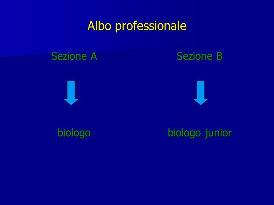 Albo professionale Sezione A biologo Sezione B biologo junior