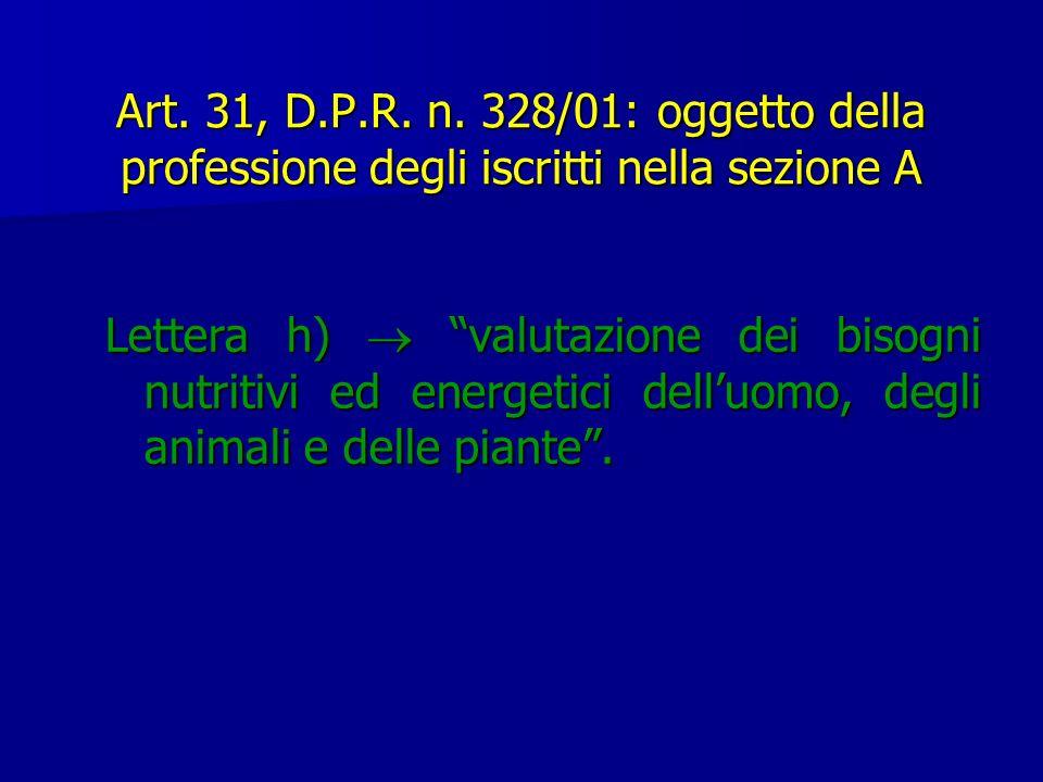 Art. 31, D.P.R. n. 328/01: oggetto della professione degli iscritti nella sezione A Lettera h) valutazione dei bisogni nutritivi ed energetici delluom