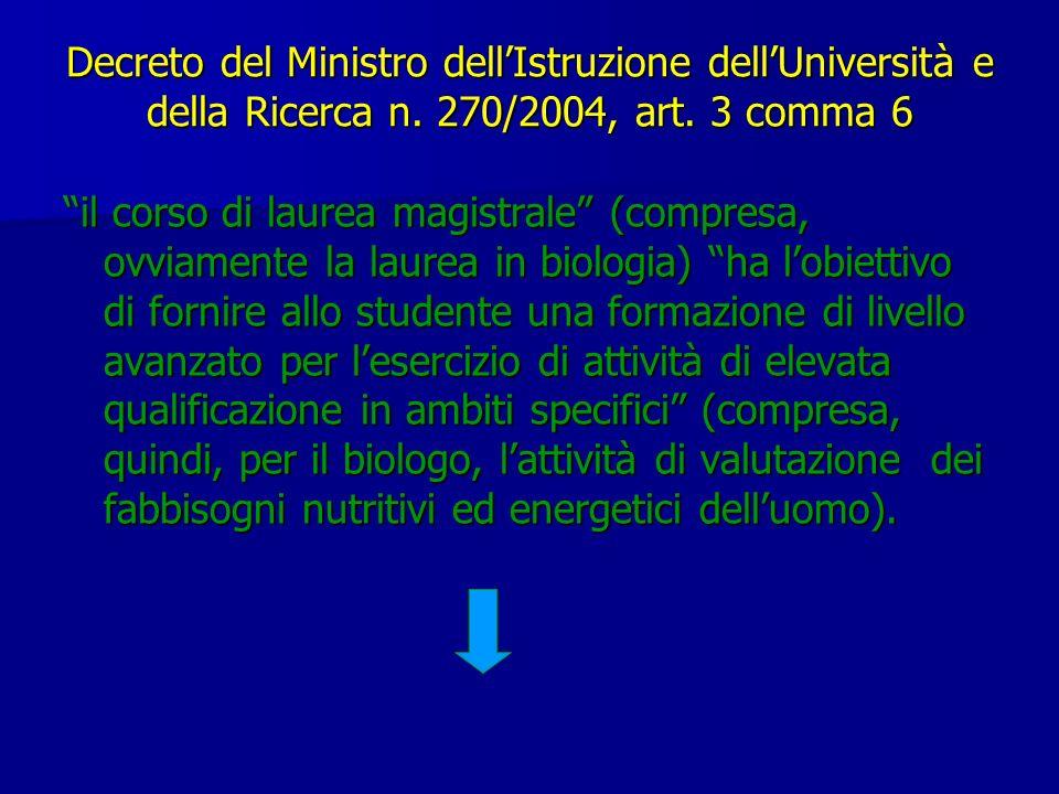 Decreto del Ministro dellIstruzione dellUniversità e della Ricerca n. 270/2004, art. 3 comma 6 il corso di laurea magistrale (compresa, ovviamente la
